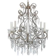 early 20th century beaded bronze and crystal chandelier for