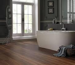 laminate flooring in bathroom with dark