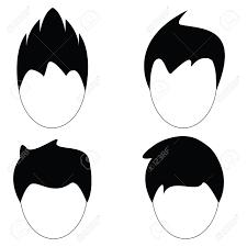 男髪ヘアスタイルのベクター シルエットのイラスト素材ベクタ