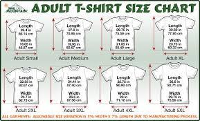 Adult T Shirt Chart Size
