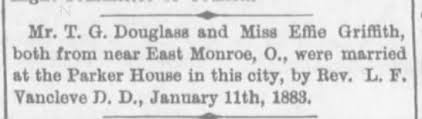 Marriage of T.G. Douglass and Effie Griffith - Newspapers.com