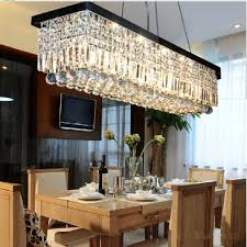 Crystal Kitchen Island Lighting Modern Linear Rectangular Island Dining Room Crystal Chandelier