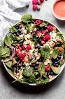 blueberry spinach salad with cracked pepper vinaigrette