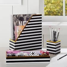 printed desk accessories black white stripe with gold trim