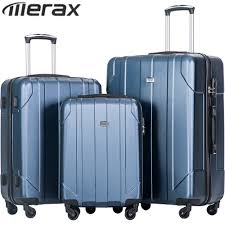 Light Luggage Sets Merax P E T Luggage Sets Light Weight 3pcs Blue Suitcase For