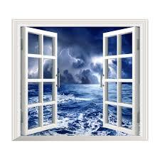 Artificial Window Stormy Sea Pag 3d Artificial Window Wall Decals Balck Cloud Room