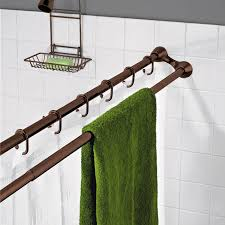 just not enough room to have towels dry and not look disheveled shower curtain rod with attached towel rod