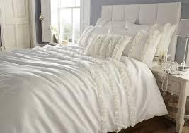 cream colour faux silk stylish modern fl ruffles duvet quilt cover set