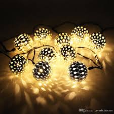 moroccan outdoor lighting. 10 Moroccan Metal Ball Solar Powered String Lanterns Led Indoor Or Outdoor Fairy Lights White/Warm White Christmas C9 From Lighting L
