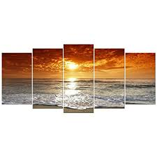 wieco art grand sight extra large 5 panels modern landscape artwork hd seascape giclee canvas prints on extra large ocean wall art with amazon wieco art grand sight extra large 5 panels modern