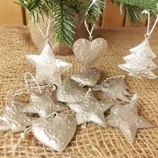 Details Zu 12 Silver Embossed Metal Small Christmas Tree Decorations Tin Tree Star Heart