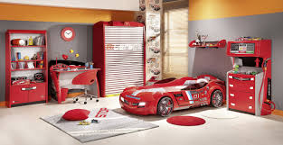 Red And Grey Decorating Enchanting Red Sport Theme Kid Bedroom Design And Decoration With