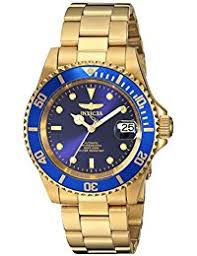 amazon co uk watch deals special offers invicta men s automatic watch blue dial analogue display and gold stainless steel gold plated bracelet