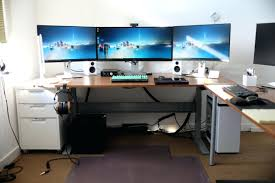 office desk layout. Marvelous Gaming Computer Desk Setup With Drawer Also Triple Monitors And White Case Battle Station Office Layout