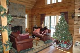 Living Room:Rustic Home Plan Living Room With Log Idea Chirstmas Decoration  In Log Home
