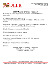 Mhic Name Change Request In Word And Pdf Formats