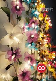20 White Pink Purple String Lights Orchid Flower Fairy Lights Bedroom Home  Decor Living Room Wall Hanging Lights Wedding Decor Battery Plug