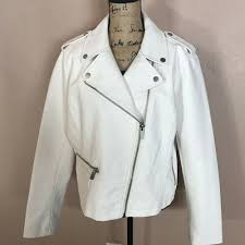 details about new york company new women s synthetic leather jacket plus size xl white