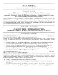 Elementary Education Resume Examples Best Resume Collection