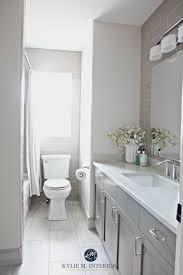gray tile bathroom floor. Bathroom Update, Benjamin Moore Classic Gray And Metropolis Vanity, Bianco Drift Quartz Subway Tile By Kylie M Interiors Floor G