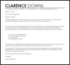 Work Cover Letters Community Worker Cover Letter Sample Cover Letter Templates Examples