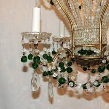 early 20th century wonderful pair emerald green beaded crystal hot air balloon chandelier fixtures for