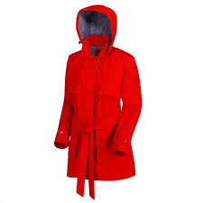 women s grier lightweight waterproof jacket with zip off hood fiery red