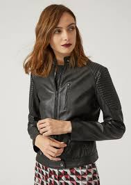 emporio armani biker jacket in nappa leather with padding leather jacket woman f