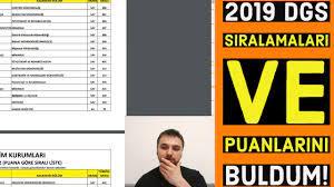 2019 DGS SIRALAMALARI VE PUANLARINI BULDUM! Bölüm bölüm DGS sıralamaları ve  puanları! #DGS - YouTube