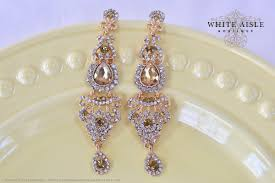 gold champagne crystal bridal earrings wedding chandelier statement earrings vintage style special occasion jewelry accessories