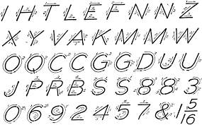 Calligraphy Strokes Chart Single Stroke Inclined Capitals Clipart Etc