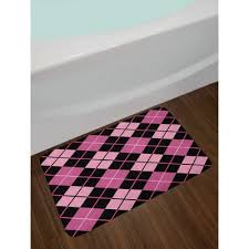 crosswise pink pale pink black checd bath rug