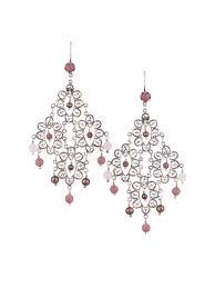 silver petal filigree large chandelier earrings with rectangular chandelier