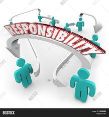 responsibility d word on arrows connecting people in a workplace responsibility 3d word on arrows connecting people in a workplace or ogranziation as delegation of work