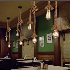 nordic hemp rope chandelier retro antique rustic industrial bar restaurant coffee creative dangling lamp vintage kitchen