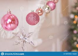 Light Pink And Blue Christmas Decorations Pink And Silver Christmas Balls And Christmas Lights On