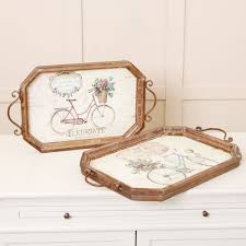 set of two vintage french decorative trays