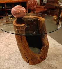 Reclaimed wood dining table made from natural hollow tree trunk and 42