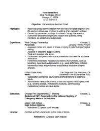 Paramedic Resume Template Paramedic Resume Template Free Printable  Allfreeprintable Ideas
