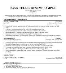Entry Level Banking Resumes Resume For Teller Position Under Fontanacountryinn Com