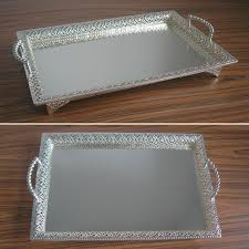 Decorative Serving Trays With Handles 100100x100100 large rectangle silver plated alloy metal serving tray 11