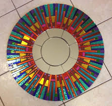 custom made mosaic mirror clearance fiesta stained glass round