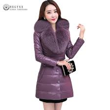 luxury fur collar women down coats plus size slim quilted down jacket 2018 winter pu leather