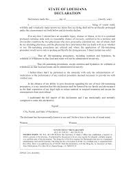 Will Form Free Louisiana Living Will Declaration Form PDF Word EForms 20