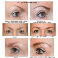 before and after softap permanent makeup eyebrows and eyeliner notice the reshaping of her eyebrows
