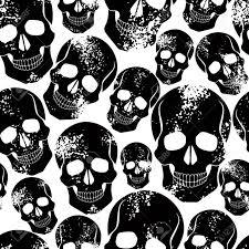 Skull Pattern Classy Black Skulls Seamless Pattern Royalty Free Cliparts Vectors And
