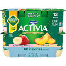 activia light strawberry banana peach nonfat yogurt 4 oz 12 ct walmart