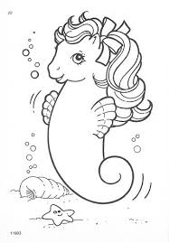 Vintage My Little Pony Sea Pony Print And Color Me Color