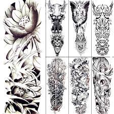 женский большой боди арт эскиз рисование временные татуировки черный