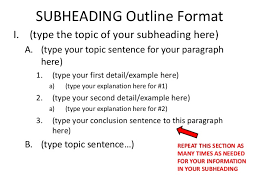 informational essay leads claims subheading outline 4 subheading outline